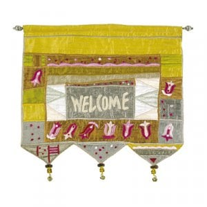 Yair Emanuel Silk Applique Welcome Gold Wall Hanging, Flowers - English