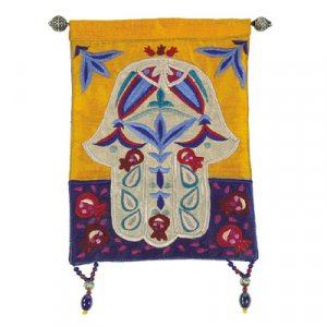 Yair Emanuel Colorful Hamsa Appliqued Silk Wall Hanging - Fish & Pomegranates