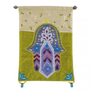 Yair Emanuel Green Hamsa Embroidered Appliqued Silk Wall Hanging – Flowers