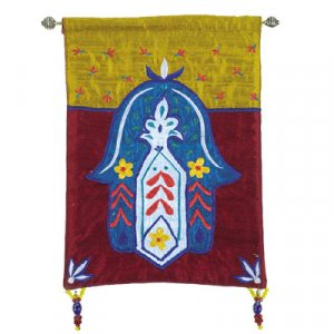 Yair Emanuel Blue Hamsa Embroidered Appliqued Silk Wall Hanging – Flowers