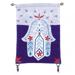 Yair Emanuel Shades of Blue Hamsa Appliqued Silk Wall Hanging - Flowers