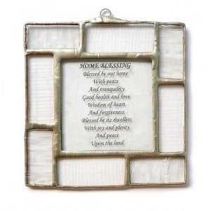 Friekmanndar Hand Made Fused Glass Blessing for Home in English - White