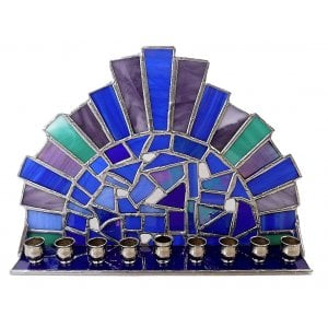 Friekmanndar Stained Glass Hanukkah Menorah Crown Design - Blue & Purple
