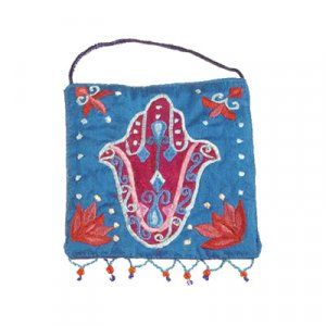 Yair Emanuel Embroidered Silk Hamsa Wall Decoration, Small - Blue