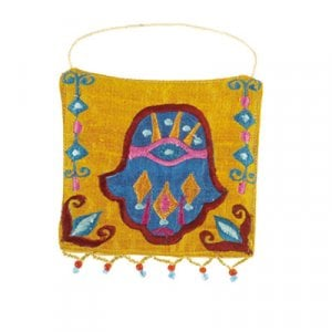 Yair Emanuel Embroidered Silk Hamsa Wall Decoration, Small - Orange