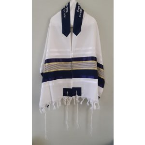 Wool Tallit with Black-Gold Silk Stripes by Galilee Silks
