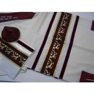 Burgundy Pomegranate Wool Tallit by Galilee Silks