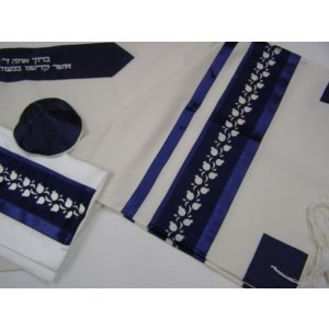 White-Blue Pomegranate Wool Tallit by Galilee Silks