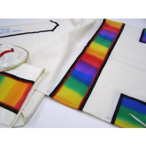 Rainbow Tallit in Wool and Silk by Galilee Silks