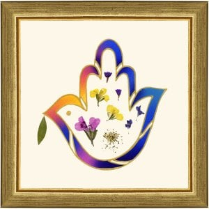 Dvora Black Peace Dove Hand-Finished Framed Print With Authentic Flowers