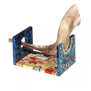 Yair Emanuel Hand Painted Wood Rams Shofar Stand, Small - Jerusalem Views
