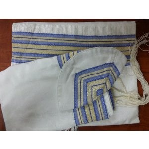 Gabrieli silk Tallit Set with Royal Blue-Gold Stripes