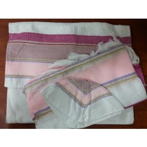 Gabrieli silk Tallit Set in White with Shades of Pink