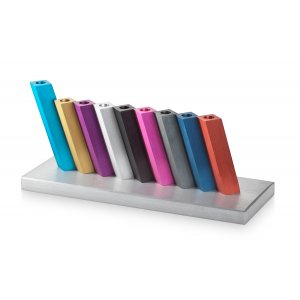 Adi Sidler Kinetic Hanukkah Menorah Anodized Aluminum - Multicolored Rods