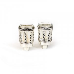 Glass Oil/Candle Inserts with Silver Plated Design