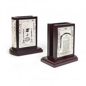 Matchbox Holder for Shabbat Lights - Wood, Silver Plate, Pearl Finish