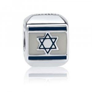 Sterling Silver Square Israel Flag Charm