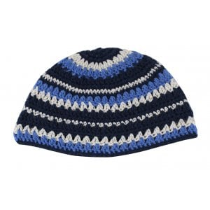 Blue, Black and White Striped Frik Kippah