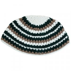Beige, White and Black Striped Frik Kippah