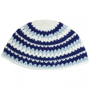 Frik Kippah with Blue-White Stripes