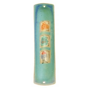 Turquoise Ceramic Mezuzah Case with Three Elements