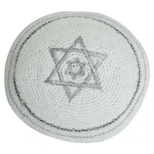 White Knitted Kippah with Double Silver Star of David