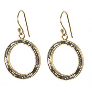 Rough Diamond Open Circle Earrings by Haya Elfasi