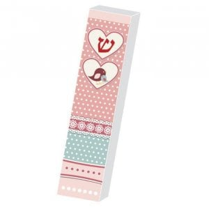 Dorit Judaica Girls Lucite Mezuzah Case Pink Print - Hearts and Chicks