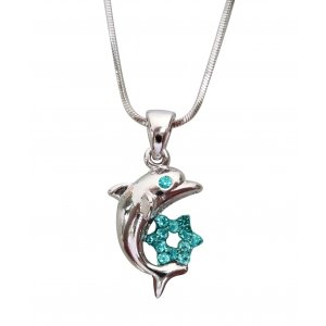 Dolphin Star of David Rhodium Necklace