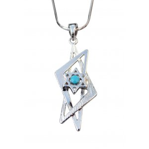 Rhodium Pendant Necklace - Double Elongated Star of David with Blue Stone