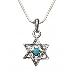 Rhodium Pendant Necklace - Double Star of David Necklace with Blue Stone