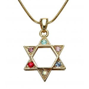 Colorful Stones Gold Color Star of David Necklace