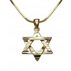 Rhodium Pendant Necklace, Textured Star of David - Gold