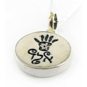 Jerusalem Stone Necklace - Hamsa for Protection