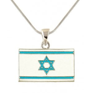 Rhodium Flag of Israel Necklace