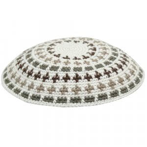 Flat DMC Knitted Kippah in White, Green and Beige
