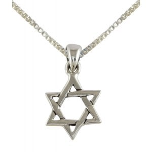 AJDesign Sterling Silver Interlocking Triangles Star of David Pendant with Chain
