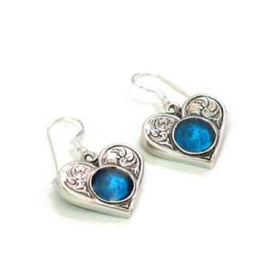 Michal Kirat Earrings with Circular Roman Glass Stone Set in Engraved Silver Heart