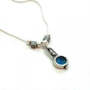 Michal Kirat Sterling Silver Necklace with Roman Glass Drop Pendant