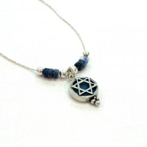 Michal Kirat Silver Star of David with Roman Glass Decoration and Demorterite Beads