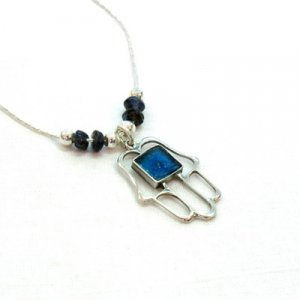 Michal Kirat Silver Hamsa with Roman Glass Decoration and Ayolite Beads