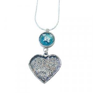 Michal Kirat Roman Glass Silver Necklace with Hammered Heart Pendant