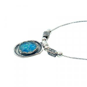 Michal Kirat Necklace with Roman Glass Silver Framed Oval Pendant