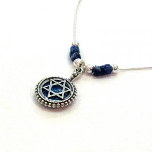 Michal Kirat Silver Star of David Necklace with Roman Glass - Demorterite Beads