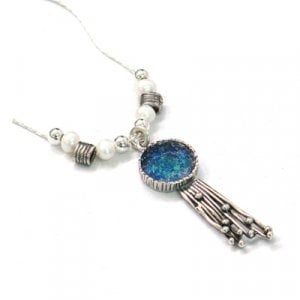 Michal Kirat Freshwater Pearls Silver Necklace - Roman Glass and Waterfall Pendant