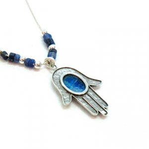 Michal Kirat Silver Hamsa with Roman Glass Decoration and Demorterite Beads
