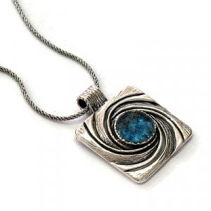 Michal Kirat Roman Glass Silver Necklace with Flowing Spiral Wave Design