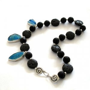 Michal Kirat Black Lava Beads Necklace - Three Roman Glass Pendants