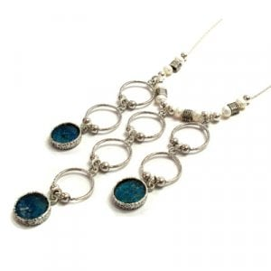 Michal Kirat Freshwater Pearls Necklace with Silver Loops and Roman Glass Pendants