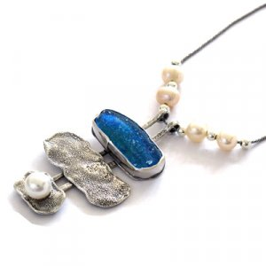 Michal Kirat Freshwater Pearl and Roman Glass Necklace - Three-Piece Pendant